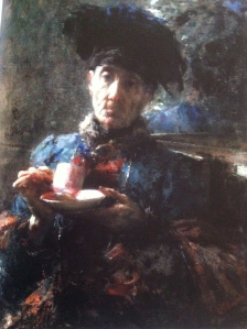Old Woman Drinking Tea - Antonio Mancini