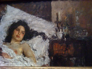 """Resting"" by Antonio Mancini Art Institute of Chicago"